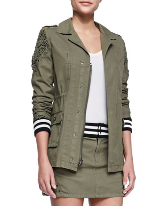 Studded & Striped Parka, Army Green