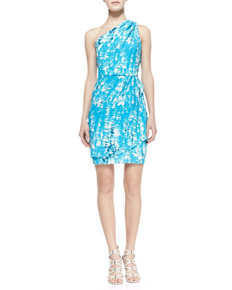 Julia One-Shoulder Print Dress, Turquoise/White/Navy