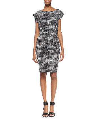 Faye Short-Sleeve Printed Dress, Black/White