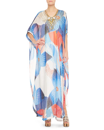 Clare Beaded Technicolor Long Dress, Multicolor