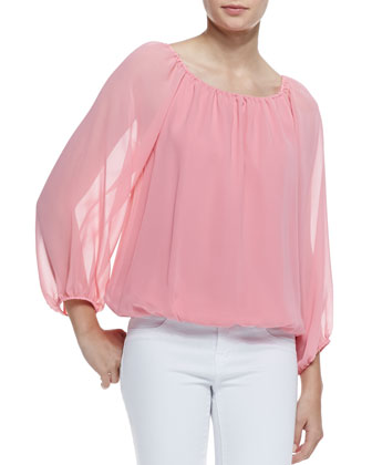 Alta Printed-Silk Top, Pink Icing