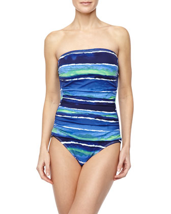 Wave-Print Strapless One-Piece Swimsuit