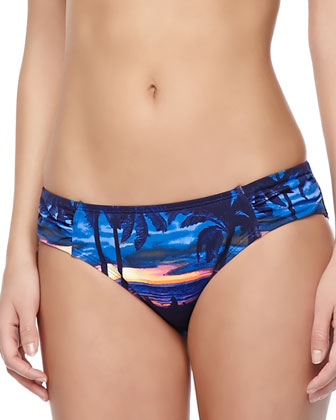 Sunset Sky Printed Rashguard, Printed Halter Swim Top & Hipster Swim Bottom ...