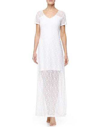 Long Lace Coverup T-Shirt Dress