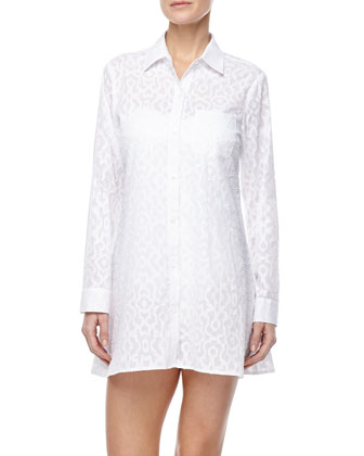 Long-Sleeve Woven Coverup
