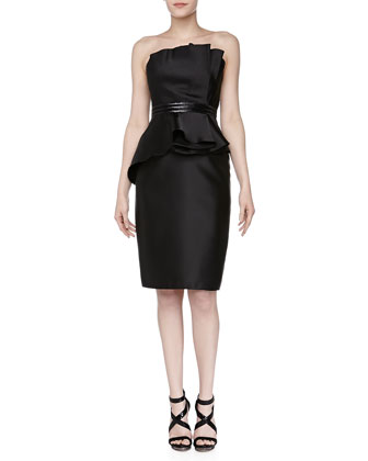 Strapless Asymmetric Beaded Cocktail Dress, Black
