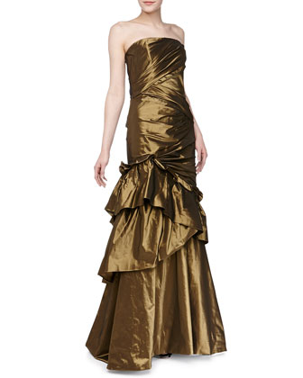 Strapless Asymmetric Taffeta Gown, Burnished Gold