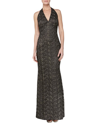 Floral Brocade Halter Gown, Burnished Gold