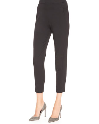 Cropped Trouser Pants, Black