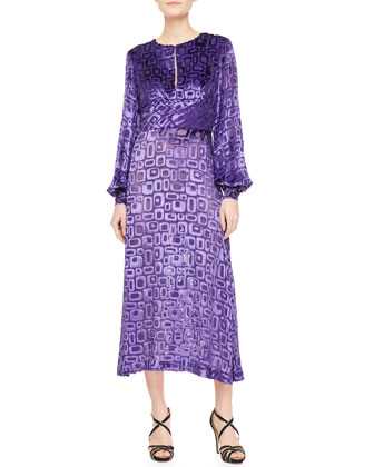Long-Sleeve Geometric Devore Velvet Dress, Peacock Purple