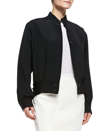Silk Bomber Jacket, Long-Sleeve Cashmere Sweater & Slim Paneled Leather Skirt