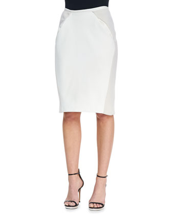 Slim Paneled Leather Skirt