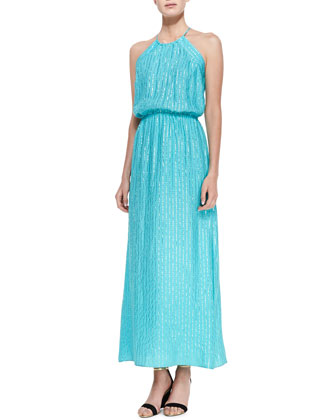 Cher Silk Stripe Halter Maxi Dress