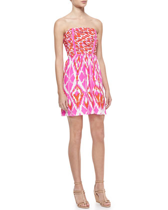 Lulu Printed-Silk Strapless Dress