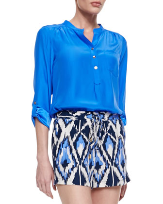 Dylan Satin One-Pocket Blouse