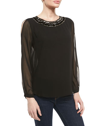 Jessa Chiffon Top with Beaded Neckline