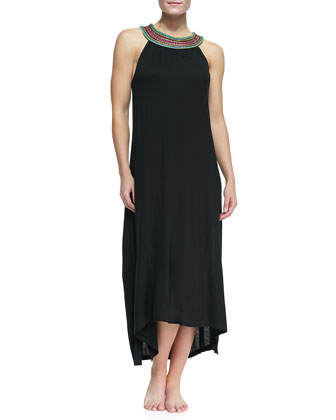 Sleeveless Bead-Neck Coverup Maxi Dress