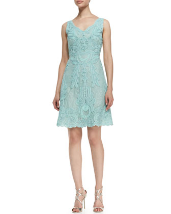 Sleeveless Cactus Flower Lace Cocktail Dress, Blue Cloud