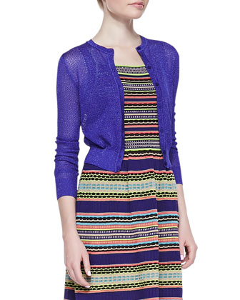 Cropped Solid Cardigan, Purple