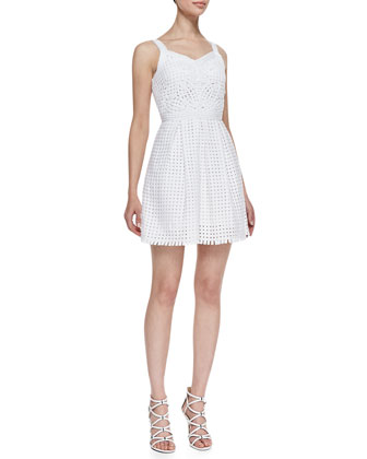 Daytona Sleeveless Grid Frock, Crystal White