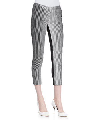 Ombre Stripe Slim Pants, White/Black