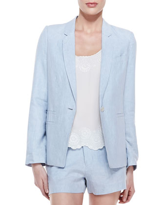 Mehira B Linen One-Button Blazer, Chambray