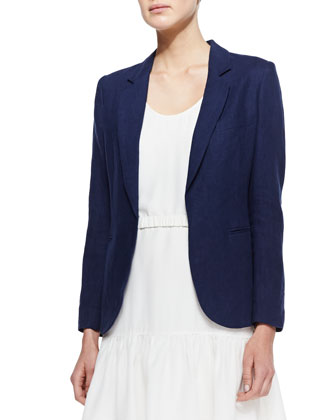 Mehira Linen Notch-Collar Blazer, Dark Navy