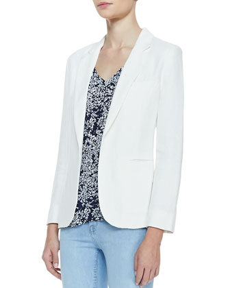 Mehira Linen Notch-Collar Blazer, White