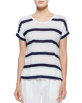 Layette Striped Slub Linen Tee