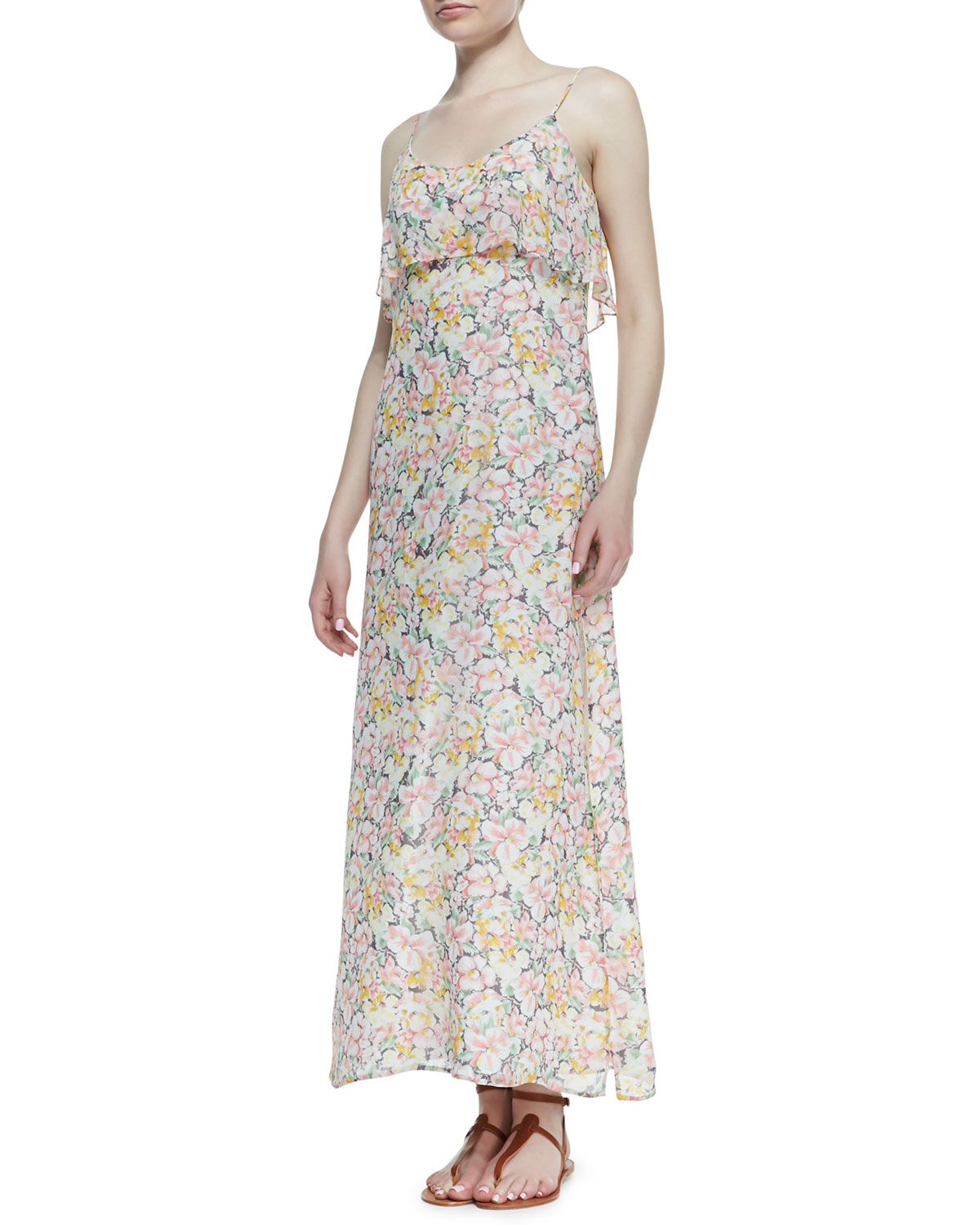 Womens Hydeia Floral Print Tiered Maxi Dress   Joie   Picnic pink (X SMALL)