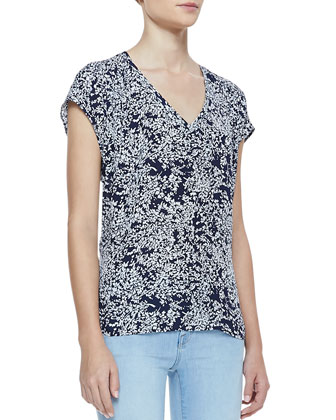 Mehira Linen Notch-Collar Blazer, Suela Short-Sleeve Printed Top & Mid-Rise ...