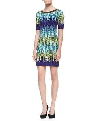 Short Sleeve Intarsia Knit Sweater Dress, Turquoise/Multicolor