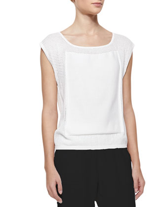 Mesh Boat-Neck Cap-Sleeve Top, Cream