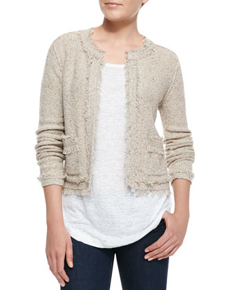 Porsha Fringe-Trim Tweed Jacket