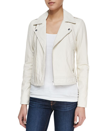Caldine Zip-Front Leather Jacket