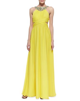Sleeveless Beaded Neck Halter Gown, Lemon