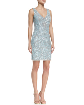 Sleeveless Beaded & Sequined Cocktail Dress, Light Blue