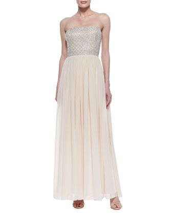 Strapless Beaded-Bodice Gown, Blush
