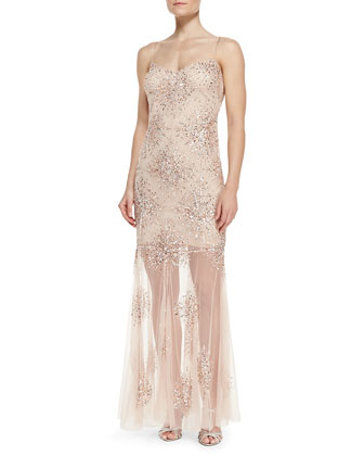 Sleeveless Starburst Bead Illusion Hem Gown, Blush
