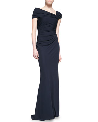 Asymmetric Off-Shoulder Gown, Navy