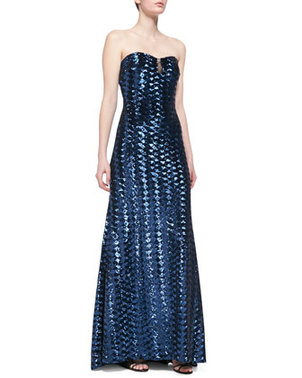 Strapless Sequin Gown with Mesh-Accent Bodice, Navy