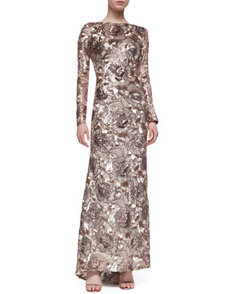 Long-Sleeve Sequined Floral Gown, Rose Gold