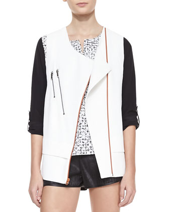 Akira Structured Zip-Pocket Moto Vest