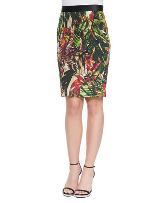 Auto Botanical-Print Skirt, Green/Berry