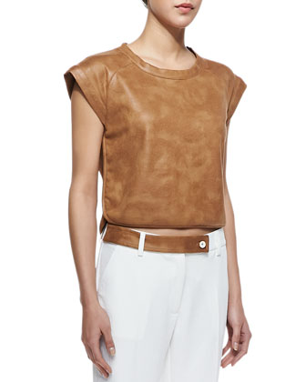 Sydney Faux-Leather Cap-Sleeve Top