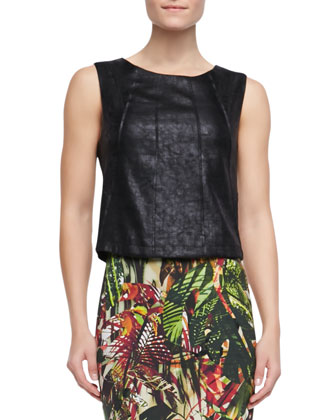 Maize Faux-Leather Top, Black