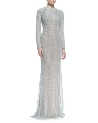 Long-Sleeve Sequined Gown, Silver