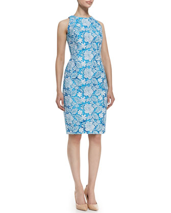 Sleeveless Floral Lace Cocktail Dress, Ivory/Turquoise