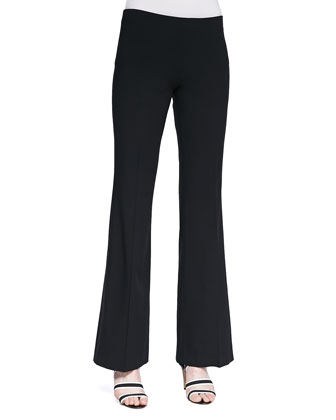 Clean Wool Poplin Flare Pants, Black
