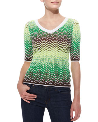 Zigzag V-Neck Top